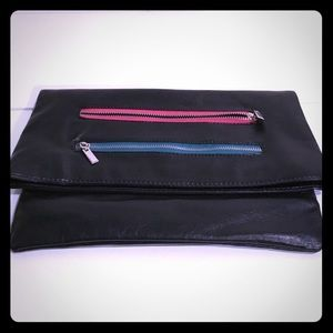 Black fold over clutch with multi color zippers